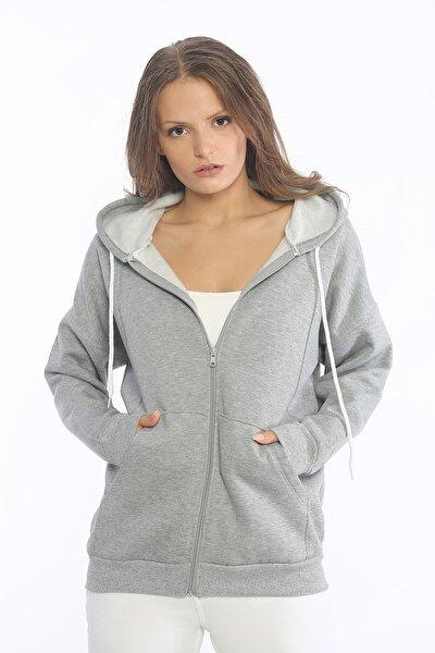 Kadın Gri Cepli Fermuarlı Sweatshirt