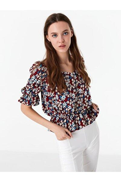 Kadın Tarçın Çiçek Desen Bluz
