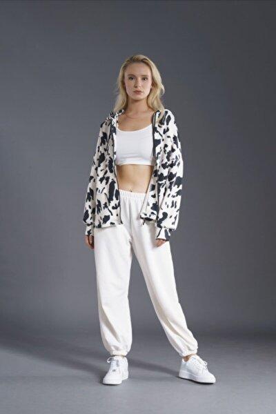 Kadın Siyah Beyaz Cow Scuba Ceket