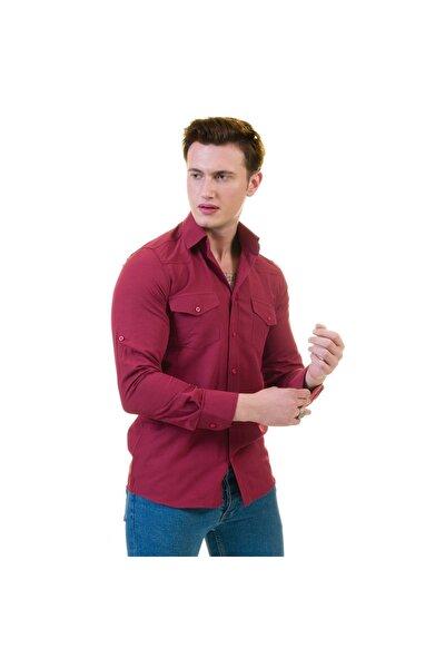 Erkek Bordo Cepli Western Gömlek