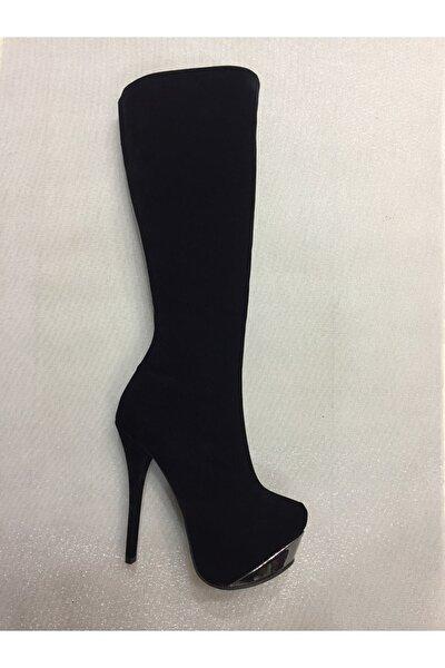 Kadın Siyah Platform Yüksek Topuk Çizme