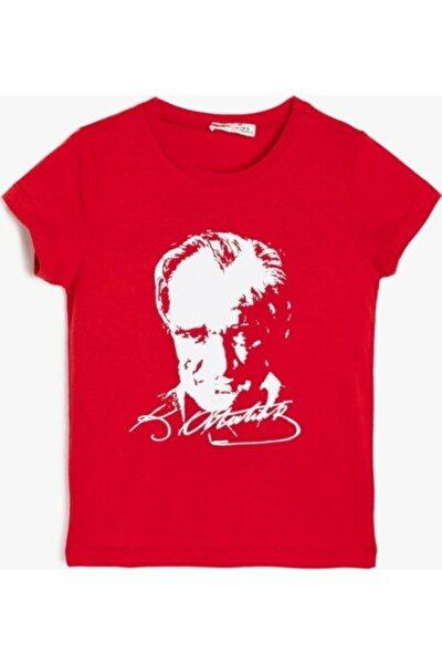 Unisex Kırmızı Atatürk Baskılı Tişört