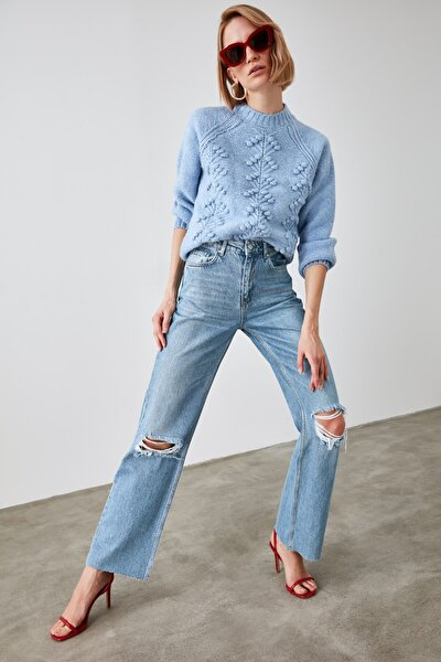Mavi Yırtık Detaylı Yüksek Bel Wide Leg Jeans TWOAW21JE0539