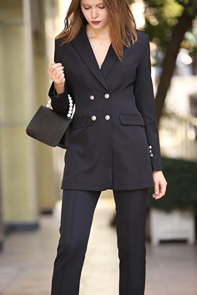 Kadın Dört Düğmeli Uzun Ceket Siyah
