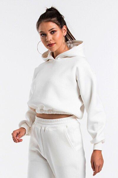 Kadın Ekru Renk Kapüşonlu Crop Kesim Sweatshirt Cy84196