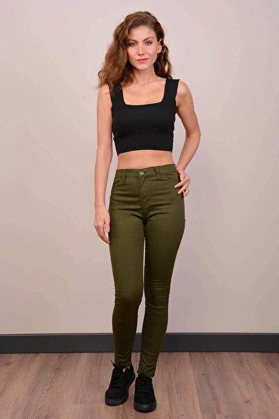 Kadın Haki Yüksek Bel Gabardin Pantolon