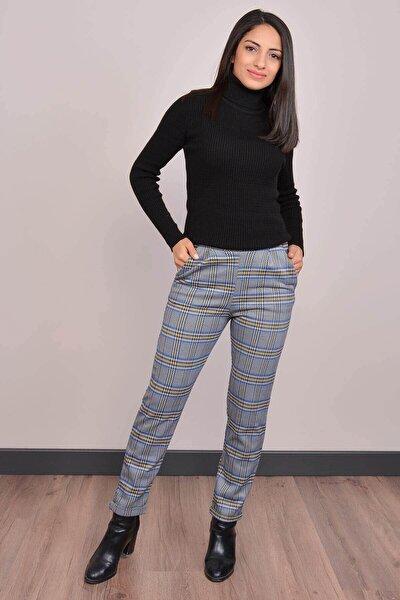 Kadın Mavi Yüksek Bel Ekose Pantolon Gm2068
