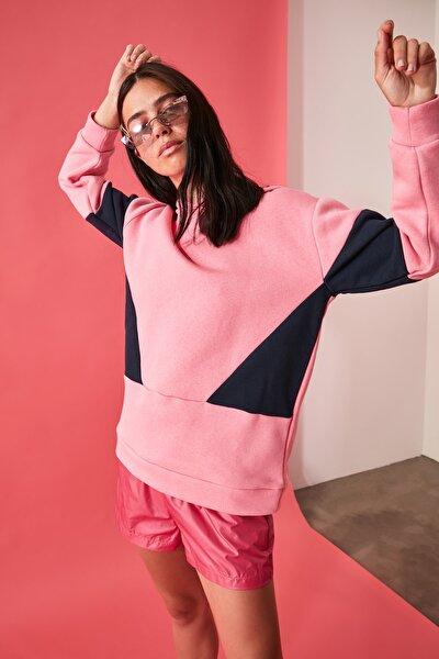 Gül Kurusu Kapüşonlu Renk Bloklu Örme Sweatshirt TWOAW21SW1130