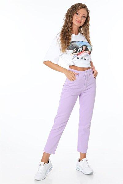 Kadın Lila Yüksek Bel Contali Pantolon