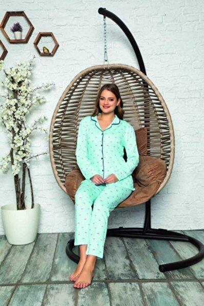 Kadın Turkuaz Uzun Kollu Düğmeli Pijama Takımı