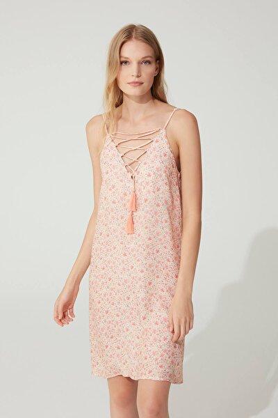 Kadın Pembe Gecelik Elbise