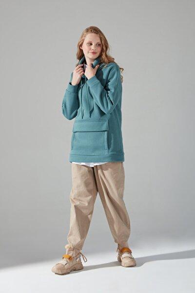 Kadın Yeşil Üç İplik Sweatshirt