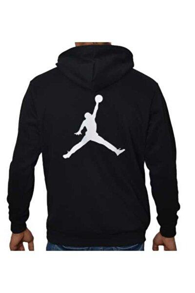 Erkek Siyah Kapüşonlu İplik Air Jordan Baskılı Tshirt