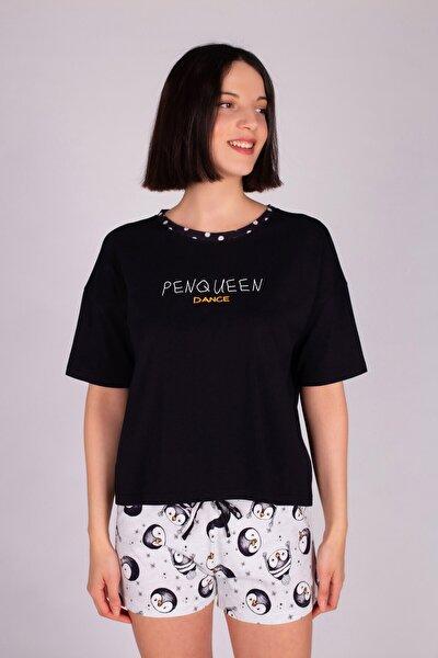 Kadın Siyah Şortlu Pijama Takımı