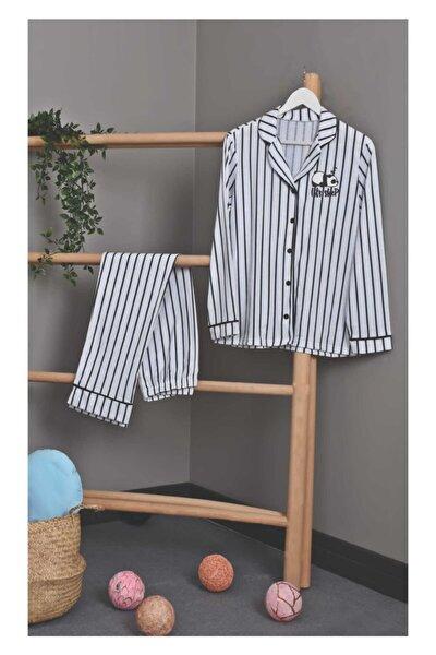 Kadın Beyaz Çizgili Pijama Takımı
