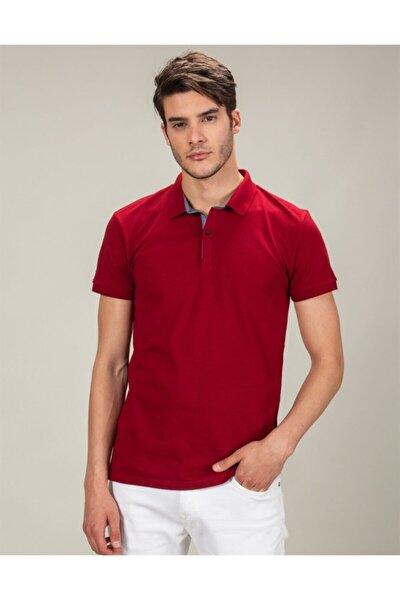 Erkek Kırmızı Slim Fit Polo Yaka Düz T-shirt