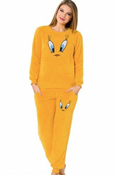 Kadın Sarı Peluş Pijama Takımı