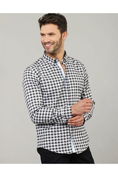 Erkek Beyaz Siyah Slim Fit Küçük Kareli Gömlek