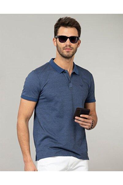 Erkek Mavi Polo Yaka Düz T-Shirt