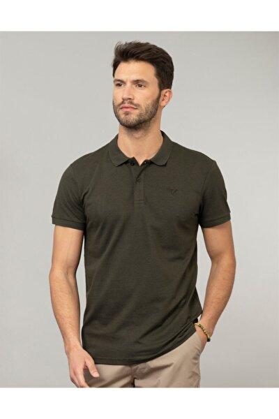 Erkek Haki Polo Yaka Düz Spor T-shirt
