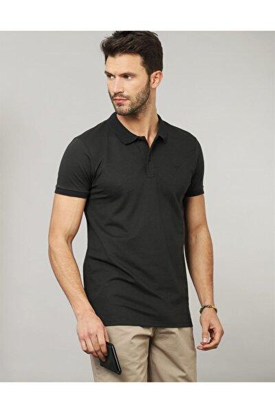 Erkek Siyah Slim Fit Polo Yaka Düz T-shirt