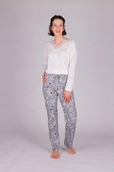 Kadın Gri Uzun Pijama Takımı