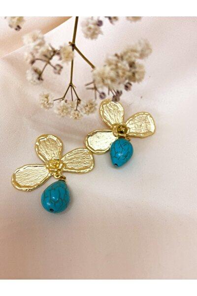 Kadın Üç Yapraklı Mavi Taşlı Küpe