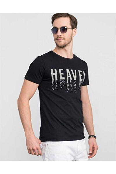Erkek Siyah Slim Fit Bisiklet Yaka Baskılı T-Shirt