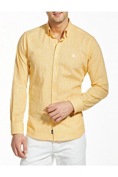 Erkek Sarı Uzun Kollu Spor Gömlek