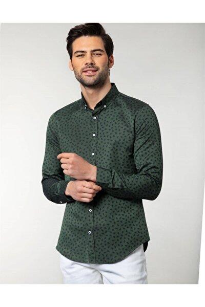 Erkek Yeşil Slim Fit Desenli Spor  Gömlek