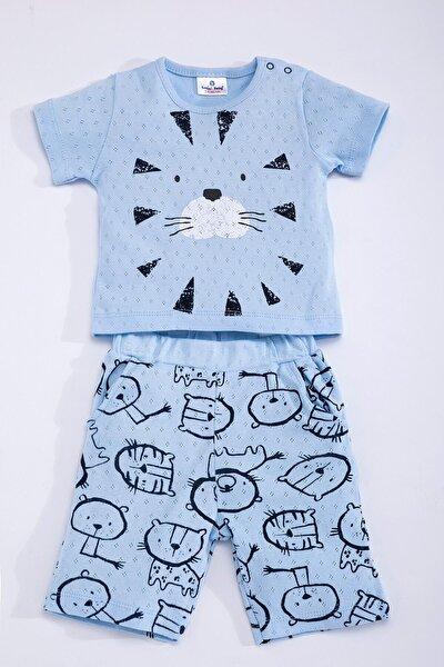 Baby Erkek Bebek Mavi Pamuklu Aslanlı Jakarlı Kısa Kollu Şort Takım SUM-4196-M