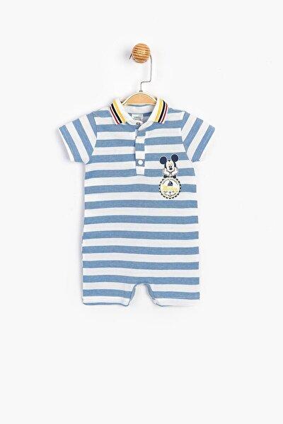 Mickey Mouse Erkek Bebek Mavi Beyaz Pamuklu Polo Yaka Kısa Şort Tulum Sum-15445