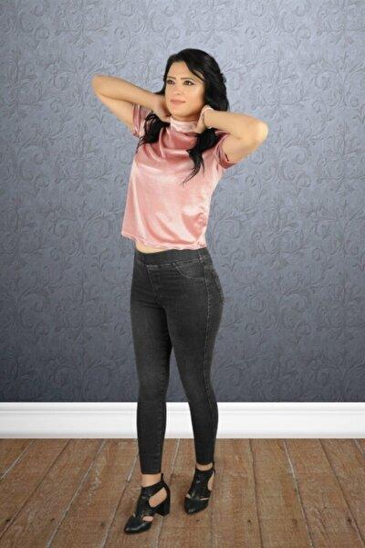 Kadın Füme Yüksel Bel Lastikli Kot Pantolon