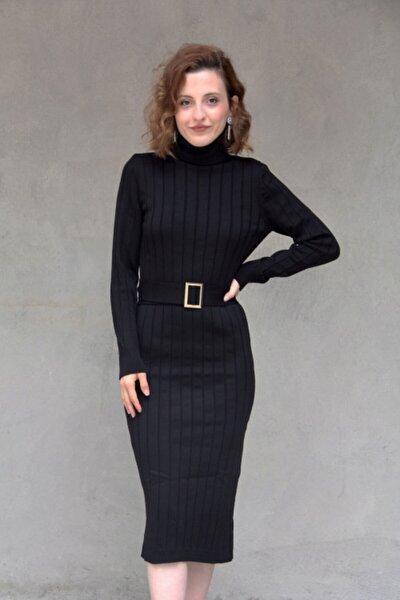 Kadın Siyah Kemerli Balıkçı Elbise