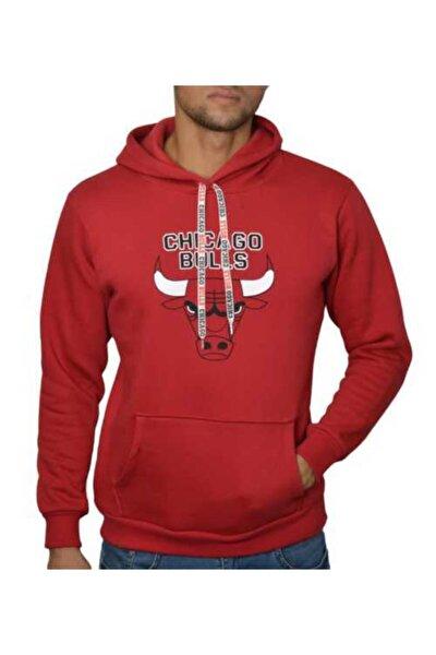 Erkek Kırmızı Kapşonlu Chicago Bulls 3 Iplik Sweatshirt