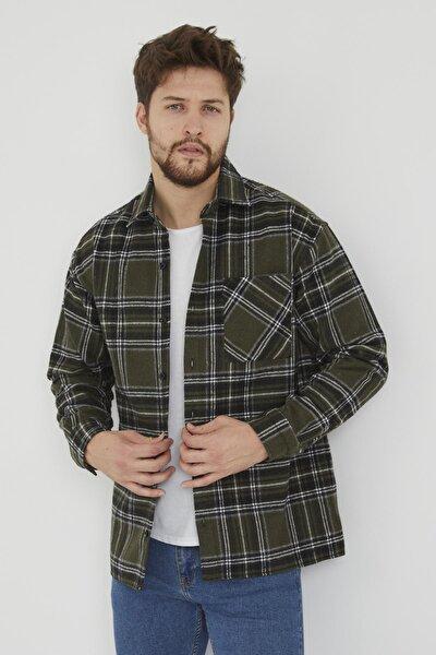 Erkek Haki Slim Fit Tek Cep Kareli Hakiki Oduncu Gömleği