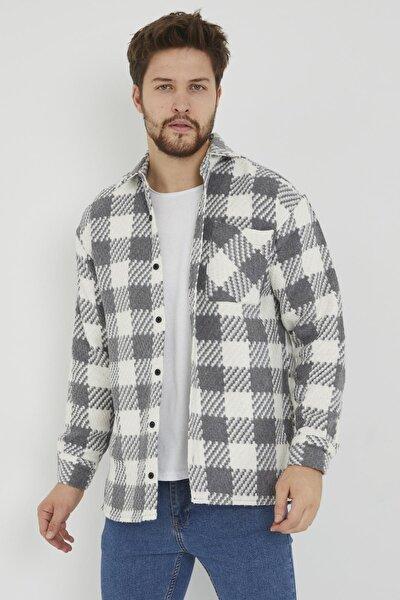 Erkek Gri Slim Fit Tek Cep Kareli Hakiki Oduncu Gömleği