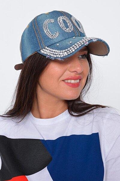 Kadın Mavi Cool Taşlı Kot Şapka