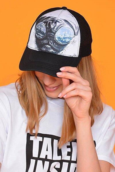 Unisex Siyah Dog Figürlü Şapka
