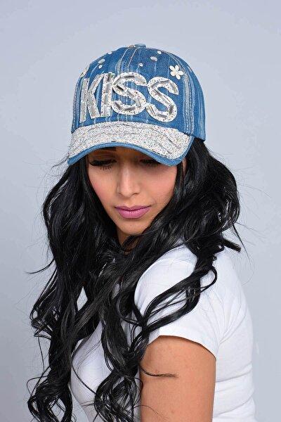 Kadın Açık Lacivert Kiss Taşlı Kot Şapka