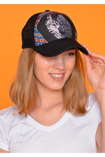 Unisex Siyah Kurt Figürlü Şapka