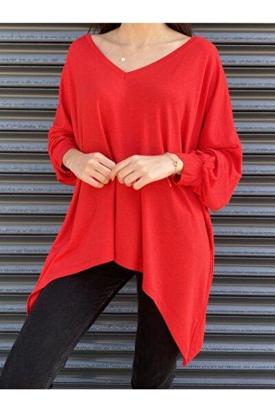 Kadın Kırmızı Salaş V Yaka Triko Bluz