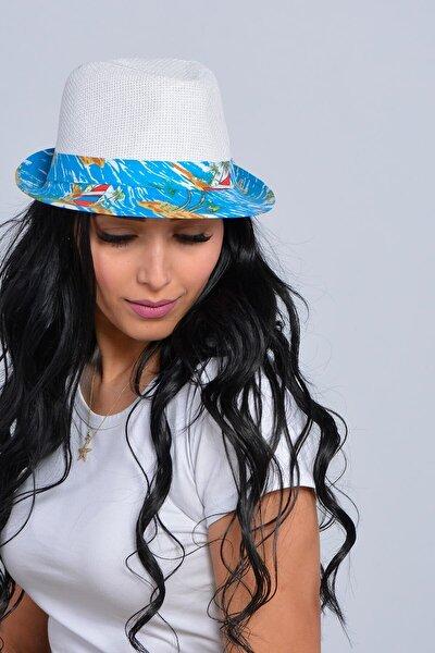 Unisex Beyaz Yelken Şeritli Hasır Şapka