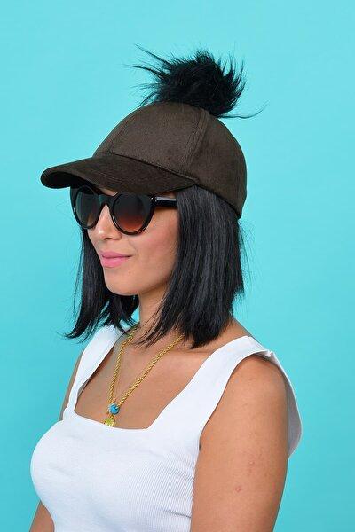 Kadın Kahve Kadife Ponponlu Şapka