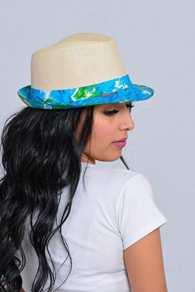Unisex Bej Yelken Şeritli Hasır Şapka