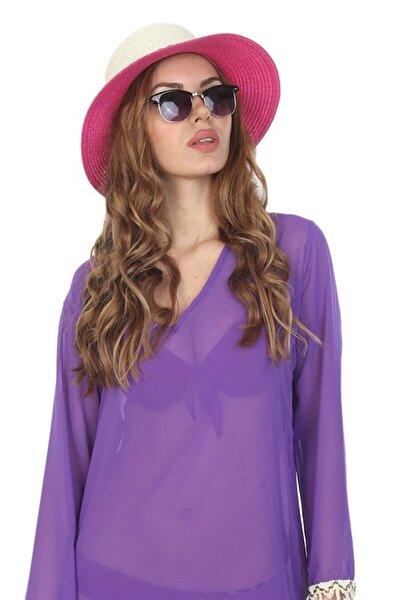 Kadın Fuşya Hasır Şapka