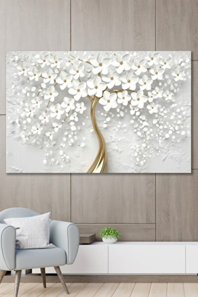 70x100 Dekoratif Beyaz Gelincik Duvar Kanvas Tablo