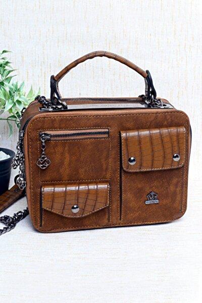 Kadın Kahverengi Cep Detaylı Çanta