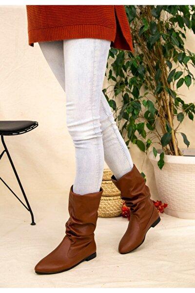 Kadın Taba Kısa Topuklu Deri Görünümlü Fermuarsız Bot Kz2507