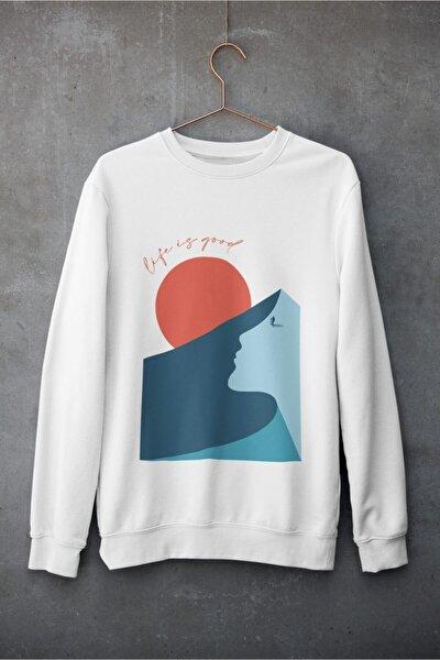 Unisex Beyaz Mountain Pamuklu Soft Sweatshirt